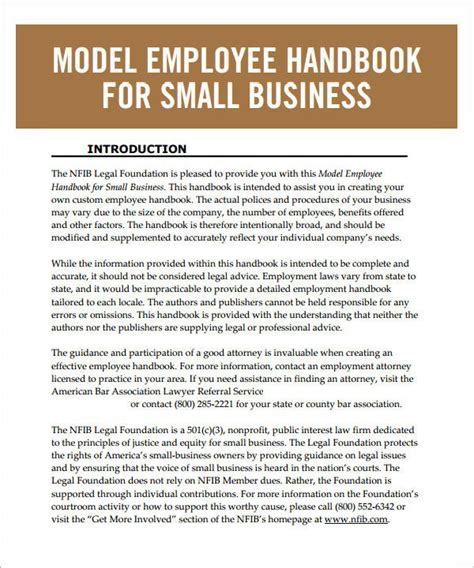 6 Sle Printable Employee Handbook Templates Sle Templates Employee Handbook Template For Small Business