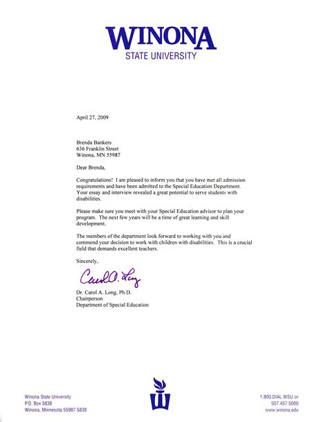 College Project Acceptance Letter Sle Acceptance Letter From Winona State University S Special Education Program Brenda Bankers S