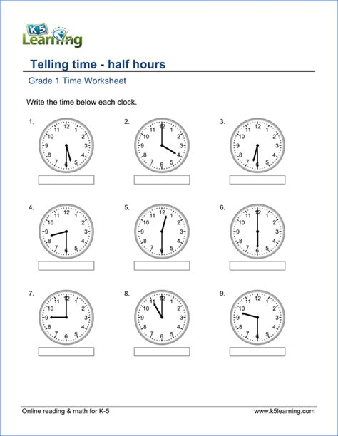 1st grade telling time worksheets free amp printable