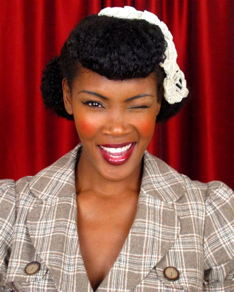 pin up hairstyles for black women with long hair faux bangs and victory rolls 1940s updo with faux bangs