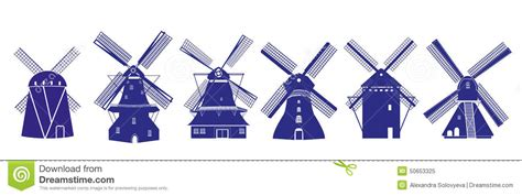 Kitchen Design Plans With Island Dutch Windmills Illustrations In Delft Blue Colors Stock