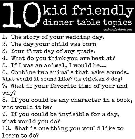 kid friendly dinner table topics corner