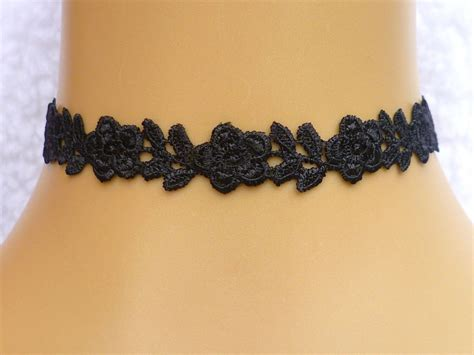 handmade black guipure lace flower choker necklace