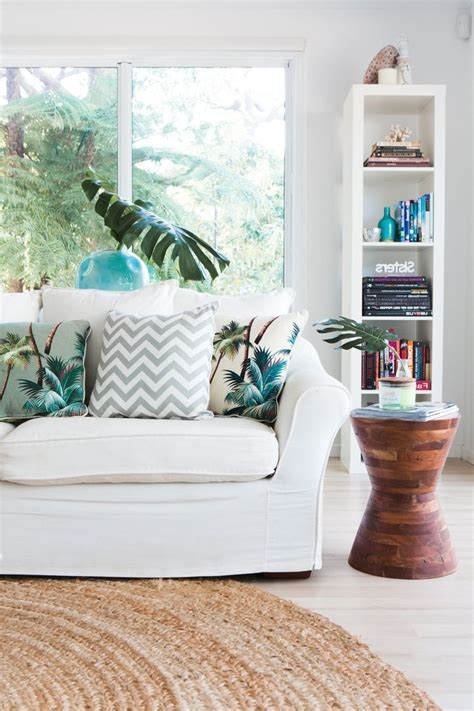 Slip Covered Sofa Tropical Interior Design Living Room Beach Style With