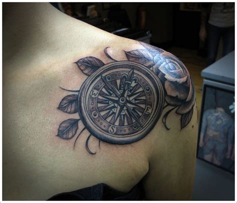 rose branch tattoo 50 beautiful compass designs and meanings
