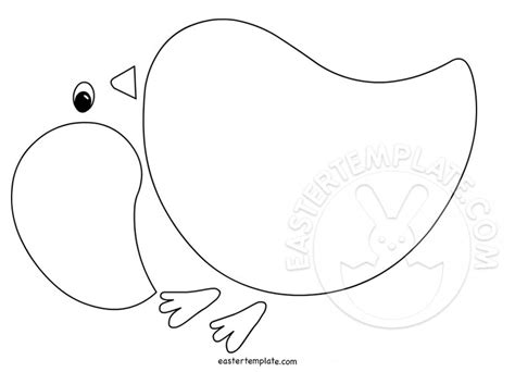 baby chick shape printable easter template