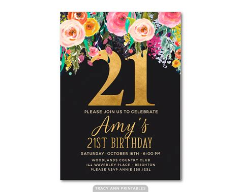 21st invitation templates 21st birthday invitation floral 21st birthday invite 21st