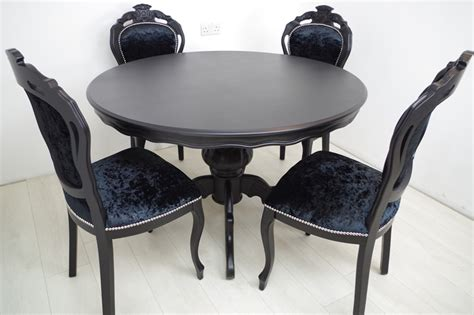 Black Pedestal Table And Chairs by Louis Style Pedestal Table 4 Chairs In