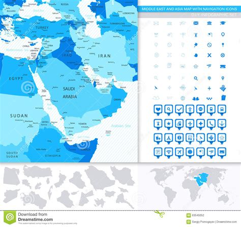 middle east map navigation middle east and asia map with navigation icons stock