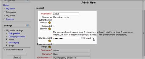 reset blackberry username how to change the username and password in moodle