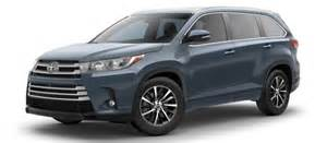 Toyota Highlander Colors 2017 Toyota Highlander Exterior Colors And Trims