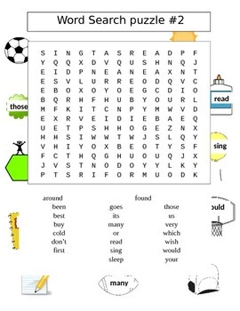 Second Search Second Grade Sight Words Word Search Puzzles 2 Puzzles By David Filipek
