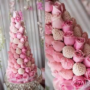 Chocolate coated strawberry tower wedding