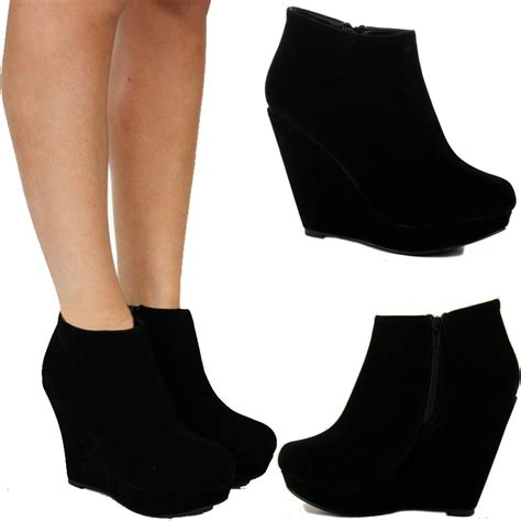 black high heel wedge boots womens black suede mid high heel ankle platform