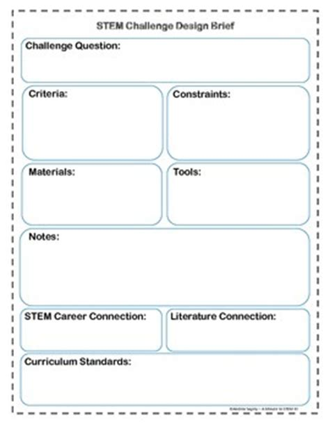 Stem Challenge Design Brief Template By A Minute To Stem It Tpt Stem Planning Template