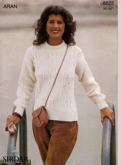 free knitting pattern jumper uk ladies sirdar aran sweater knitting pattern 30 40 quot c8822