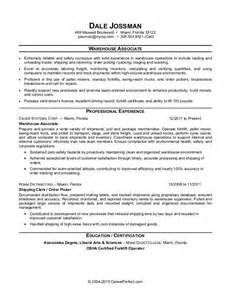 warehouse associate resume sle