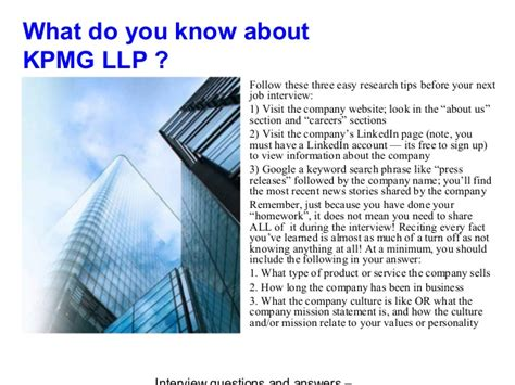 Kpmg Mba Internship Intervie Process by Kpmg Llp Questions And Answers