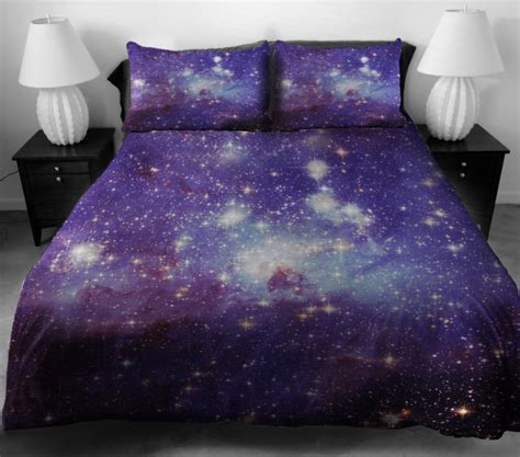 space bed sheets wow who knew space was so comfy galaxy bedding geekologie