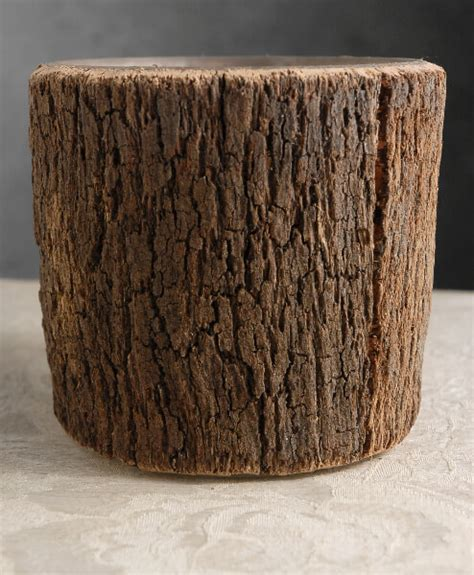 natural bark covered   cylinder timber vases