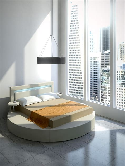 round platform bed palazzo round platform bed in leatherette white