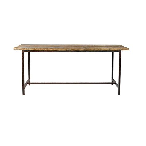 wooden table with metal legs by bell blue