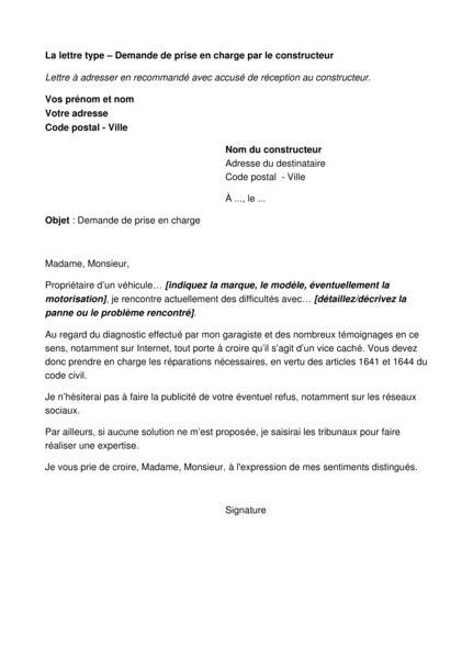 Exemple De Lettre De Prise En Charge Pour Visa Touriste modele de lettre pour prise en charge reparation voiture