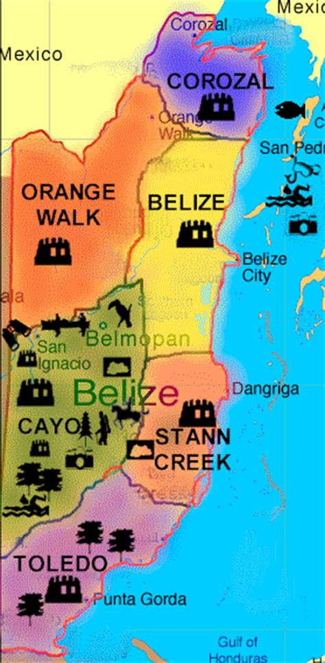 tourist map of belize a map of belize showing the districts
