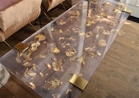 World Home Decor by Contemporary Gold Leaf Inlay Coffee Table With Brass Frame