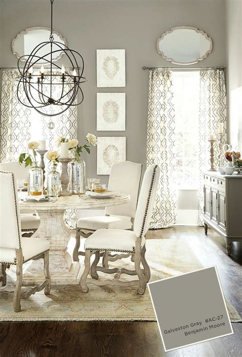 Dining Table Colors Benjamin Galveston Gray Dining Room With Pedestal Table And White Upholstered Chairs For