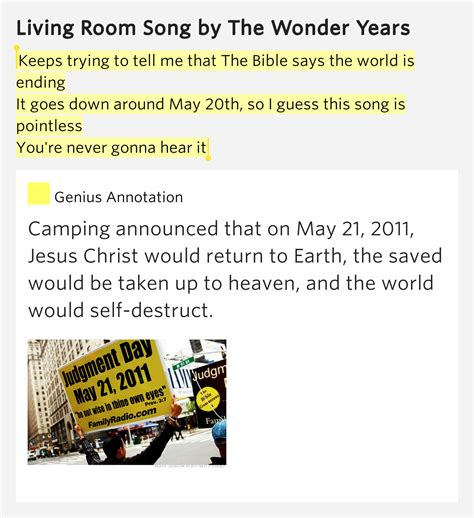 living room song lyrics keeps trying to tell me that the bible says the world is