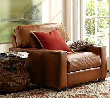 turner leather armchair turner square arm leather armchair pottery barn