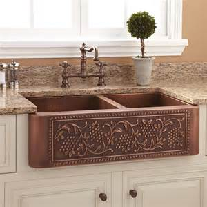kitchen sink farmhouse 33 quot vineyard 60 40 offset bowl copper farmhouse