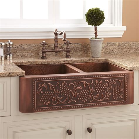 Farm Sink For Kitchen 33 Quot Vineyard 60 40 Offset Bowl Copper Farmhouse Sink Kitchen