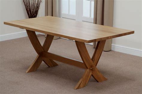 Crossed Leg Dining Table Crossley 6ft Solid Oak Crossed Leg Dining Table 6 Brown Leather Scroll Chairs