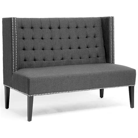 Tufted Banquette Seating by Owstynn Wingback Banquette Bench Tufted Gray Linen