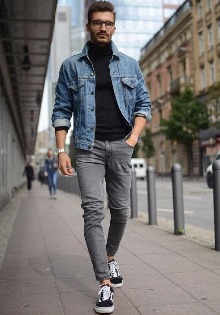Jacket Rice Trendy Brown Jaket Pria picture of with denim jacket gray and white and black sneakers