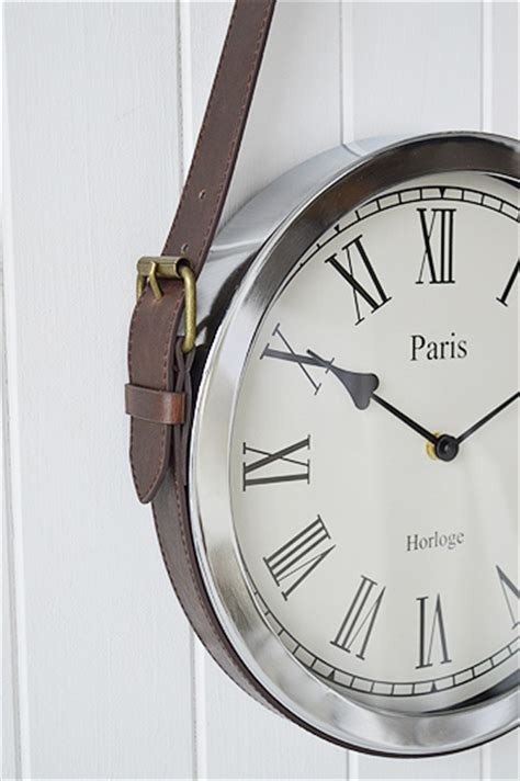 diy leather belt clock hanger chrome wall clock on vintage belt new furniture and accessories