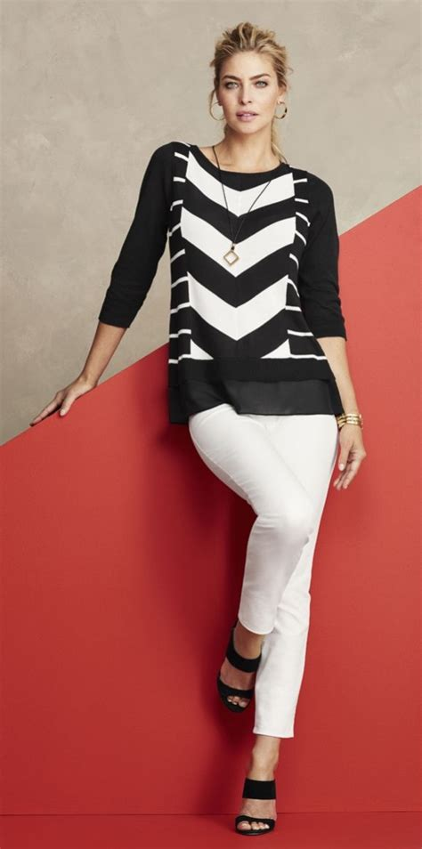 Sweater Give Me A White this black and white chevron striped sweater will give your look an instant me up looks