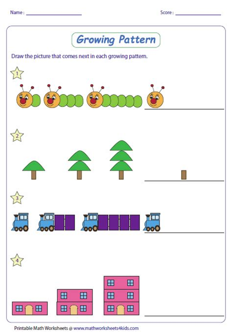 increasing pattern activities pattern worksheets