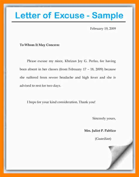 Excuse Letter In 8 Excuse Letter Format Coaching Resume