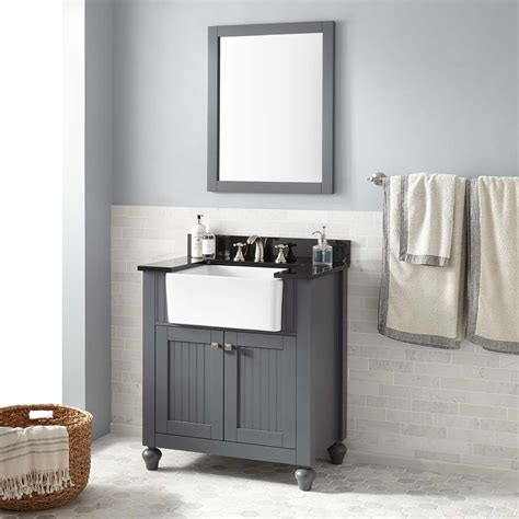 30quot nellie farmhouse sink vanity dark gray bathroom