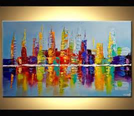 Modern Paints by Modern 40 Quot Original City Lights Acrylic Painting Signed