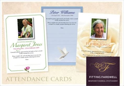 funeral attendance card template fitting farewell ltd redditch springfield house pipers road
