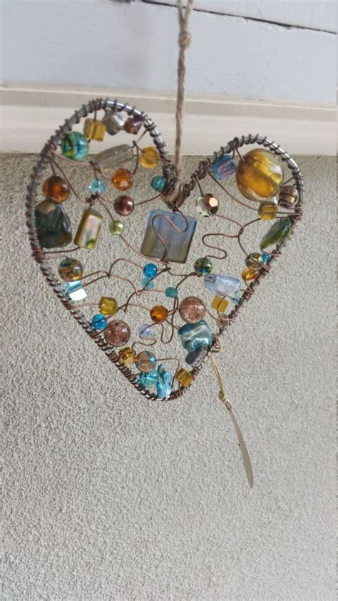 Handmade Suncatchers - handmade wire and beaded loveheart suncatcher by