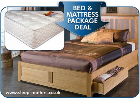 Bed And Mattress Deal by American Oak Bed Frame With Two Drawers Option Combined
