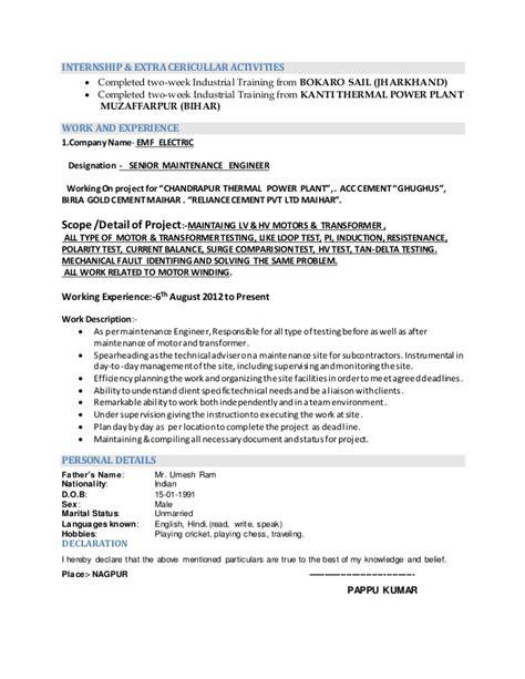 resume electrical electronics engineering