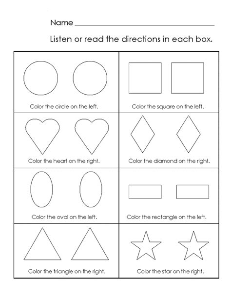 shapes colors pre worksheets pictures to pin on