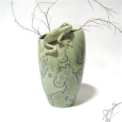 Vase Frog by Green Glazed Vase With Frog On