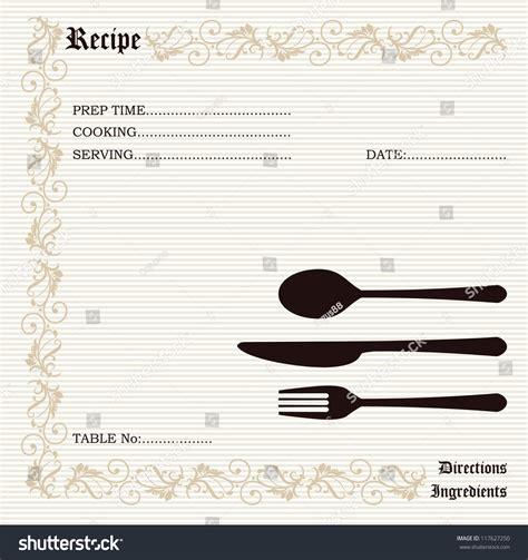 Kitchen Memo Template Restaurant Ecipe Kitchen Note Template Menu Memo Stock Vector Illustration 117627250